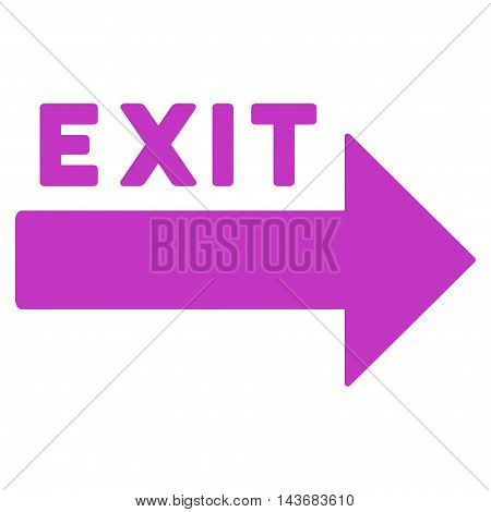 Exit Arrow icon. Vector style is flat iconic symbol with rounded angles, violet color, white background.