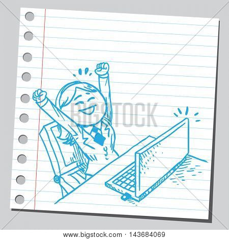 Happy businesswoman working on computer