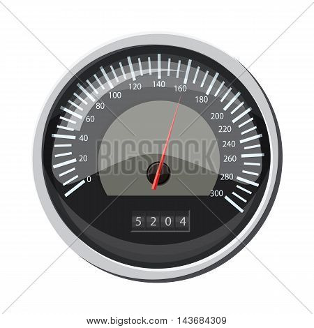 Speedometer at 160 km in hour icon in cartoon style isolated on white background. Speed measurement symbol