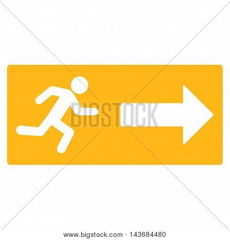 Emergency Exit icon. Vector style is flat iconic symbol with rounded angles, yellow color, white background.