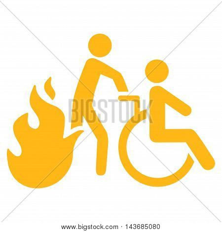 Fire Patient Evacuation icon. Vector style is flat iconic symbol with rounded angles, yellow color, white background.