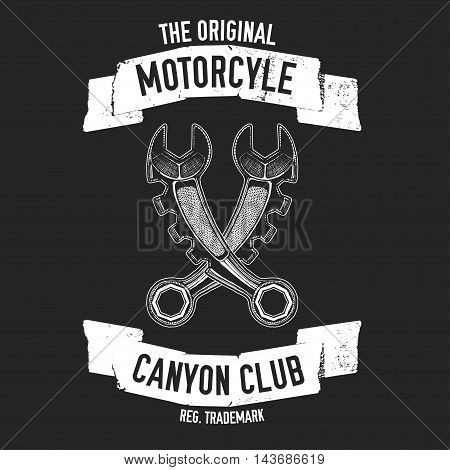 Hand drawn quote about motorcycles and bikers with spanners