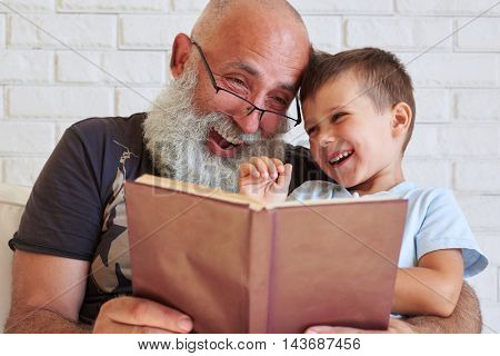 Bearded aged man and his grandson are having fun reading a book together while sitting in cozy armchair at home