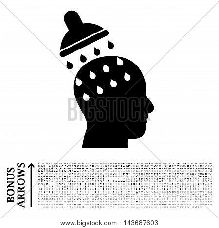 Brain Washing icon with 1200 bonus arrow and navigation pictograms. Vector illustration style is flat iconic symbols, black color, white background.