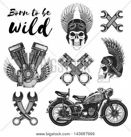 Hand drawn vector set of motorcycle icons for any kind of design