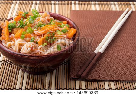 Small Portion Of Rice Vermicelli Hu-teu With Vegetable Sauce