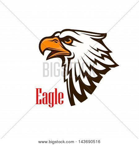 Eagle head vector emblem. Hawk sketch cartoon outline. Falcon silhouette sign for team mascot shield, icon, badge, label and tattoo. Scout, patriotic and guard concept symbol