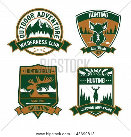 Hunting club emblems set. Wild animal deer, elk, boar, antlers, head, arrow silhouette vector icons. Hunt adventure icon with mountains, forest, wildlife for badge, t-shirt, outfit