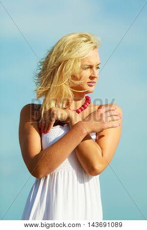 Nice Female Enjoying Nature And Beach.