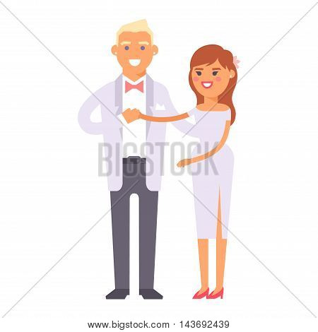 Happy bride and groom on wedding romance love couple vector. Bride white dress and groom, marriage beauty wedding people happiness love couple. Bride and groom romantic two couple.