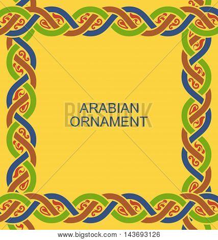 Illustration Arabian Ligature Border in Traditional Style, Ornamental Frame - Vector