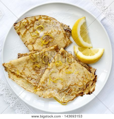 Crepes with lemon and sugar.  Top view.