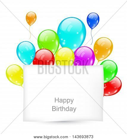 Illustration Greeting Card with Colorful Balloons for Happy Birthday - vector