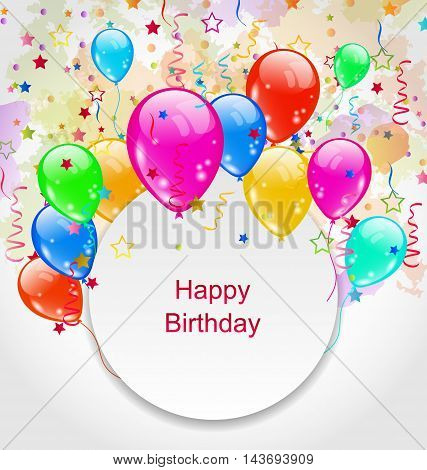 Illustration Birthday Celebration Card with Colorful Balloons - Vector