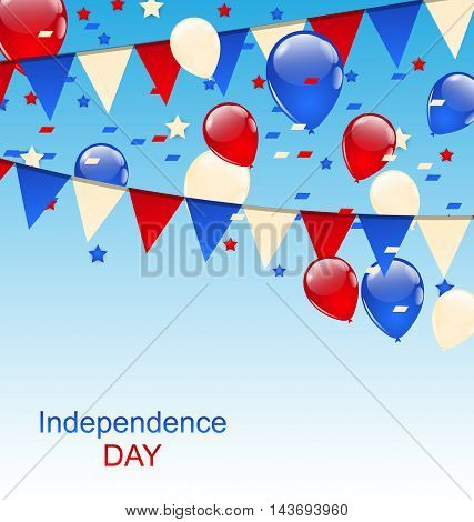 Illustration American Greeting Card with Balloons and Bunting Flags - Vector