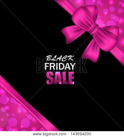 Illustration Glowing Banner Clearance with Bow Ribbon for Black Friday Sales - Vector