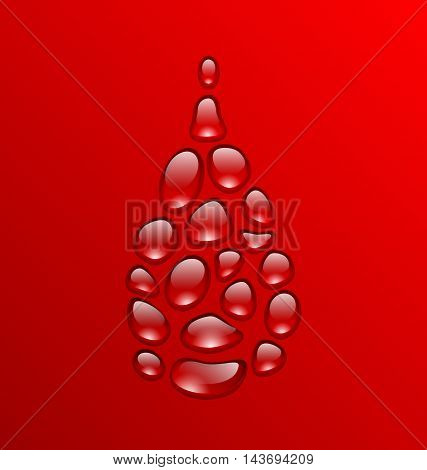 Illustration Blood Drop Made of Drops. Concept Medical Background - Vector