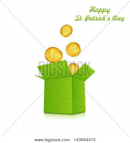 Illustration open cardboard box with golden coins for St. Patrick's Day, isolated on white background - vector