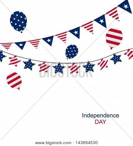 Illustration Bunting pennants for Independence Day USA - Vector