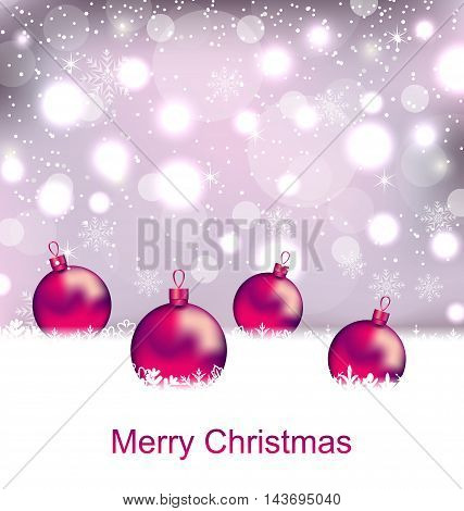 Illustration Shimmering Card with Balls For Merry Christmas - Vector