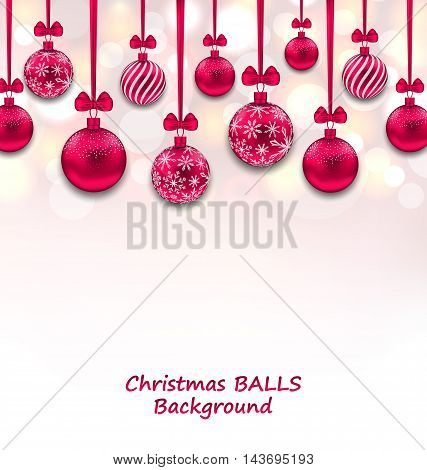 Illustration Christmas Background with Pink Glassy Balls with Bow Ribbon, Shiny Background - Vector