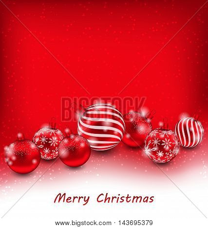 Illustration Christmas Abstract Background with Red Balls, Bright Wallpaper - Vector
