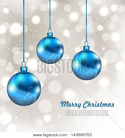 Illustration Holiday Background with Snowflakes and Christmas Balls - Vector