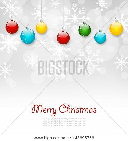 Illustration Christmas Greeting Card with Colorful Balls - Vector