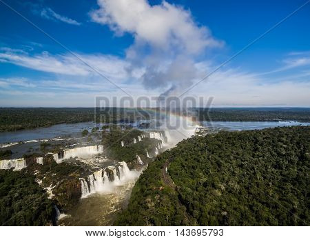 Aerial View of Iguazu Falls, border in Brazil and Argentina
