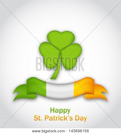 Illustration clover with ribbon in traditional Irish flag colors for St. Patrick's Day - vector