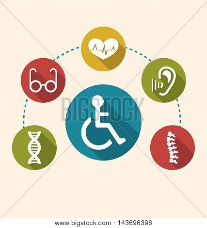 Illustration Flat Colorful Icons Disabled with Limited Opportunities and Birth Defects. Long Shadow Style - Vector