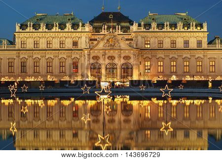 Famous palace Belvedere in Vienna, Austria at Christmas time
