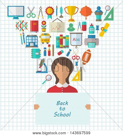 Illustration Set of Education Flat Colorful Icons with Schoolgirl holds Paper Banner- Vector
