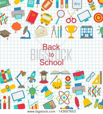 Illustration Set of School Icons, Back to School Objects - Vector