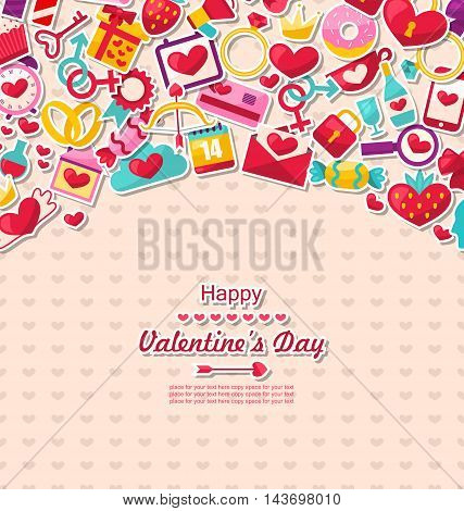 Illustration Greeting Card for Valentine's Day. Flat Valentine Icons, Lock and Key, Gift Box, Candles, Sweet Cupcake, Rings - Vector