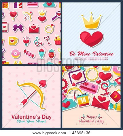 Illustration Set Beautiful Brochures with Traditional Objects for Happy Valentine's Day. Romantic Invitations - Vector
