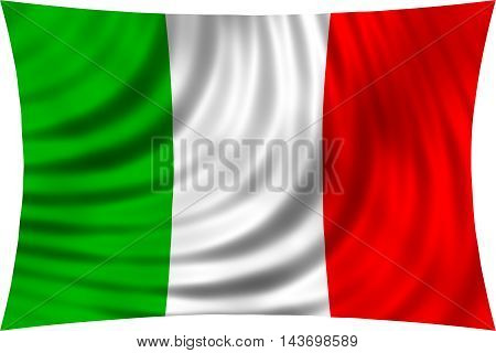 Flag of Italy waving in wind isolated on white background. Italian national flag. Patriotic symbolic design. 3d rendered illustration