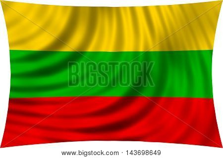 Flag of Lithuania waving in wind isolated on white background. Lithuanian national flag. Patriotic symbolic design. 3d rendered illustration