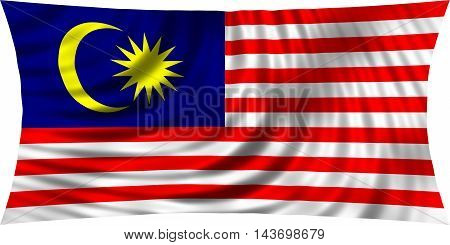 Flag of Malaysia waving in wind isolated on white background. Malaysian national flag. Patriotic symbolic design. 3d rendered illustration