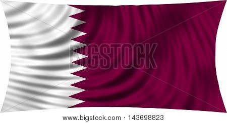 Flag of Qatar waving in wind isolated on white background. Qatari national flag. Patriotic symbolic design. 3d rendered illustration