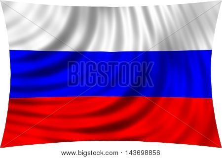 Flag of Russia waving in wind isolated on white background. Russian national flag. Patriotic symbolic design. 3d rendered illustration