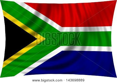 Flag of South Africa waving in wind isolated on white background. South African national flag. Patriotic symbolic design. 3d rendered illustration