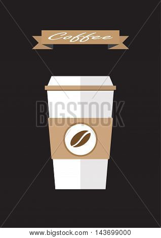 coffee paper cup flat icon.Coffee takeaway vector illustration