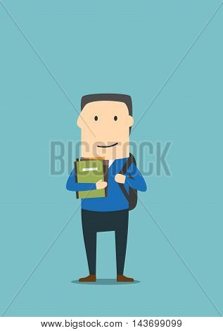 University student holding books, notes. School boy with backpack. Education concept