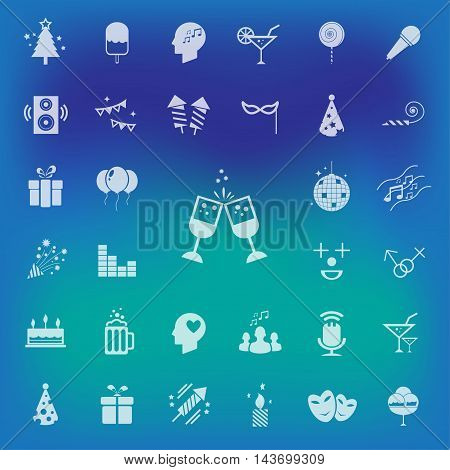 Party Icons set on blur background. vector . illustration