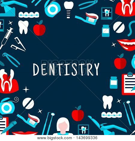 Dentistry banner with icons. Stomatology dental care symbols. Dentist tools and equipment vector elements. Leaflet, advertisement, infographic