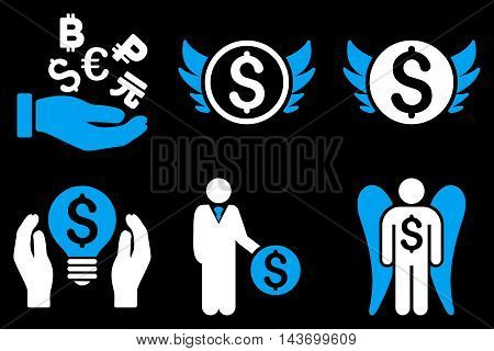 Angel Investor glyph icons. Pictogram style is bicolor blue and white flat icons with rounded angles on a black background.