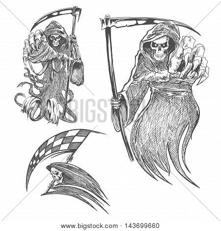 Death with scythe pencil sketch. Halloween vector icon. Gothic mortal character sketching for tattoo, decoration