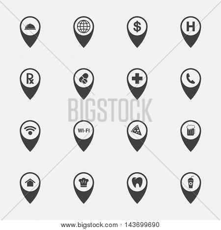 pointer and navigation sign and symbol icons set.