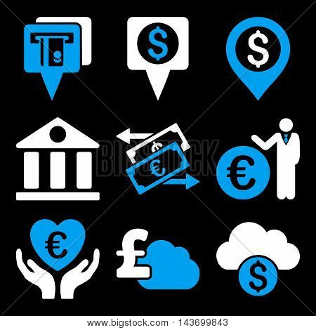 Banking glyph icons. Pictogram style is bicolor blue and white flat icons with rounded angles on a black background.